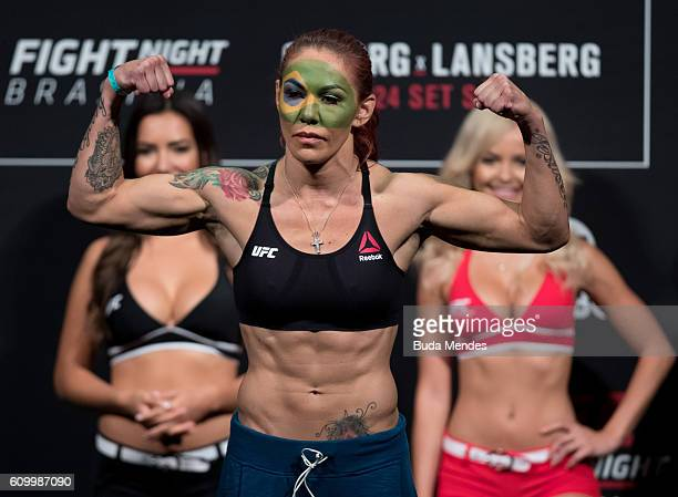 Cris Cyborg of Brazil steps on the scale during the UFC Fight Night weighin at Nilson Nelson gymnasium on September 23 2016 in Brasilia Brazil