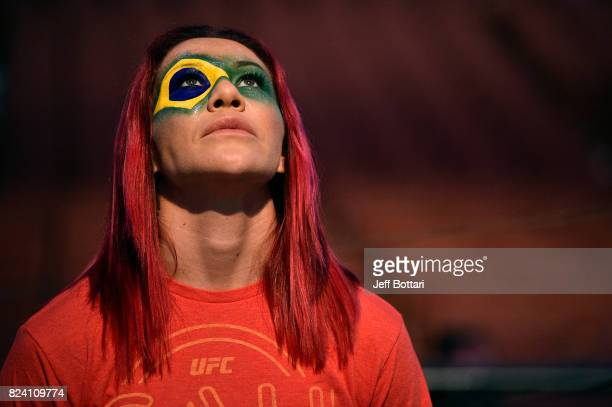 Cris Cyborg of Brazil waits backstage during the UFC 214 weighin inside the Honda Center on July 28 2017 in Anaheim California
