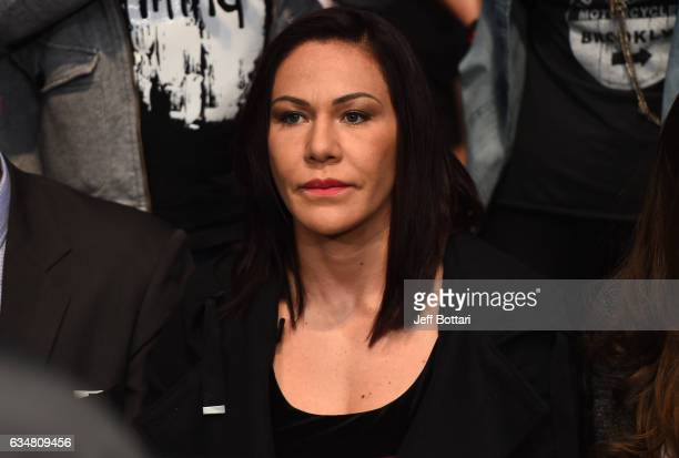 Cris Cyborg of brazil watches the fights during the UFC 208 event inside Barclays Center on February 11 2017 in Brooklyn New York