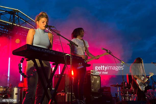 Cris Lizarraga Josu Ximun and Lore Nekane of Belako perform on stage during the second day of Tibidabo Live Festival at Parc del Tibidabo on...