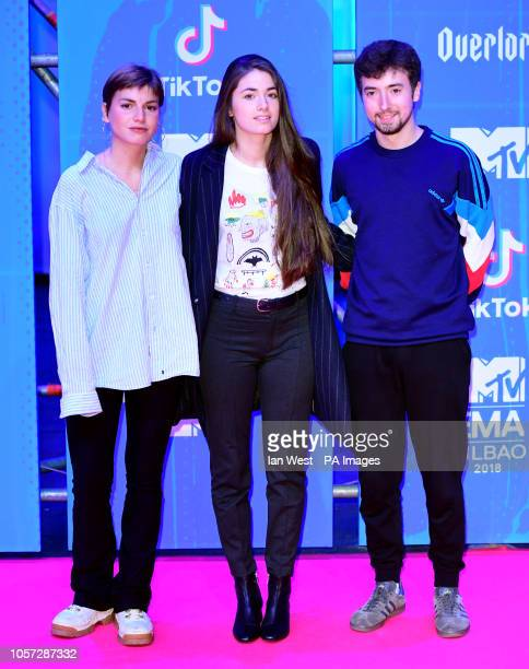 Cris Lizarraga Lander Zalakain and Lore Nekane Billelabeitia of Belako attending the MTV Europe Music Awards 2018 held at the Bilbao Exhibition...