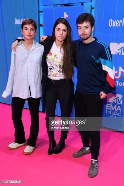 Cris Lizarraga Lore Nekane Billelabeitia and Lander Zalacain of Belako attends the MTV EMAs 2018 at Bilbao Exhibition Centre on November 4 2018 in...
