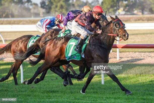 Crisis Point ridden by Jarrod Fry wins the Werribee Open Range Zoo BM58 Handicap at Werribee Racecourse on April 19 2018 in Werribee Australia