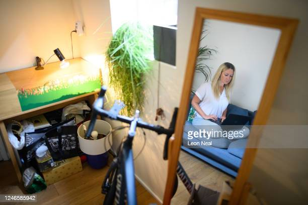 Crisis Volunteer Rachael De Bose sits in the room where she often works her shifts for the crisis text service Shout 85258 from her home on June 04...