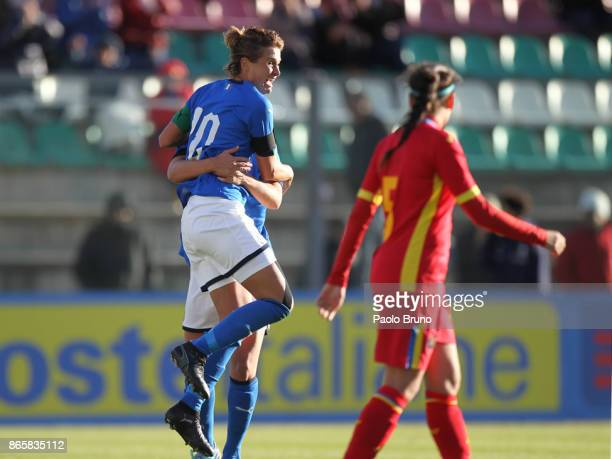 Crisitiana Girelli with her teammates of Italy celebrates after scoring the team's second goal during the FIFA Women's World Cup Qualifier match...