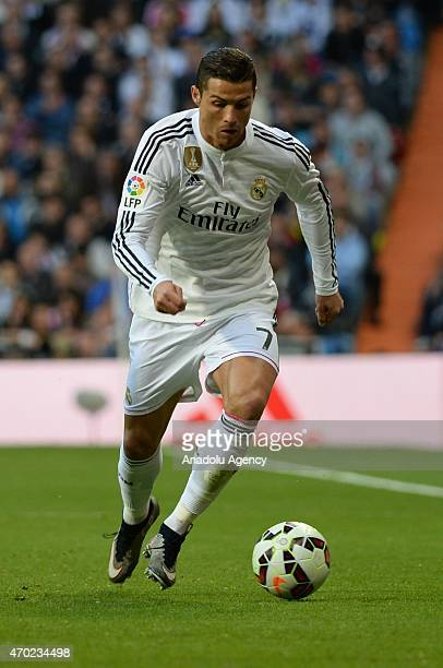 Crisitiano Ronaldo of Real Madrid in action during the La Liga match between Real Madrid and Malaga at Estadio Santiago Bernabeu in Madrid Spain on...