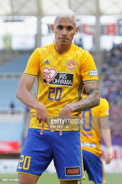 Crislan of Vegalta Sendai celebrates scoring his side's second goal during the J.League J1 match between Vegalta Sendai and Ventforet Kofu at Yurtec...