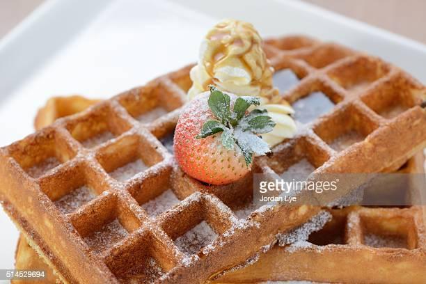 Crisp golden waffle