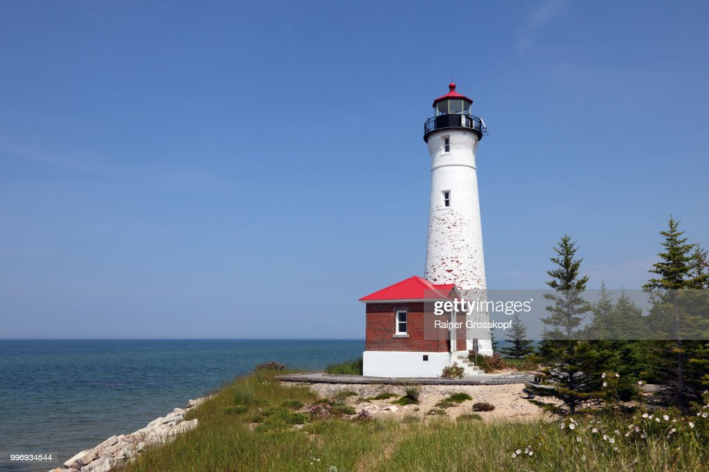 Crisp Point Lighthouse (1904) at Lake Superior : Stock-Foto
