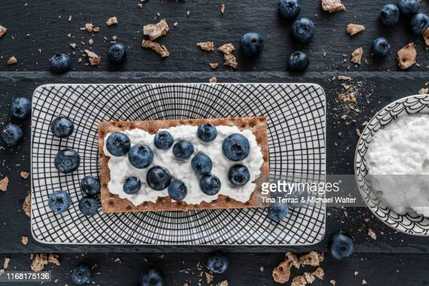 crispbread buiscuit with cream cheese and blueberries on a dish. - tina terras michael walter stock-fotos und bilder