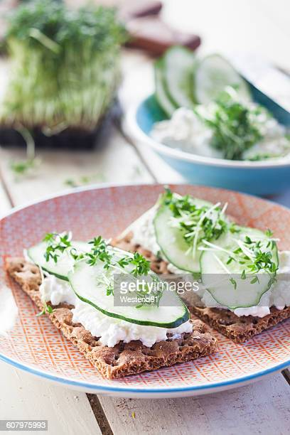 Crispbreads with cottage cheese, cucumber slices and cress