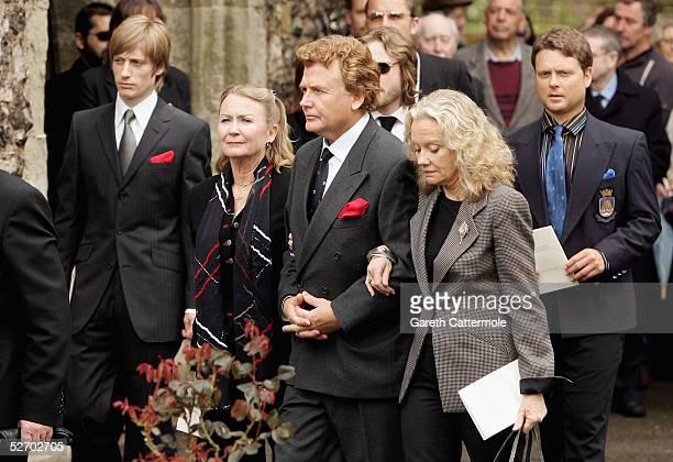 Crispian Mills Juliet Mills Jonathan Mills and Hayley Mills attend the funeral service held for Sir John Mills on April 27 2005 in Denham...