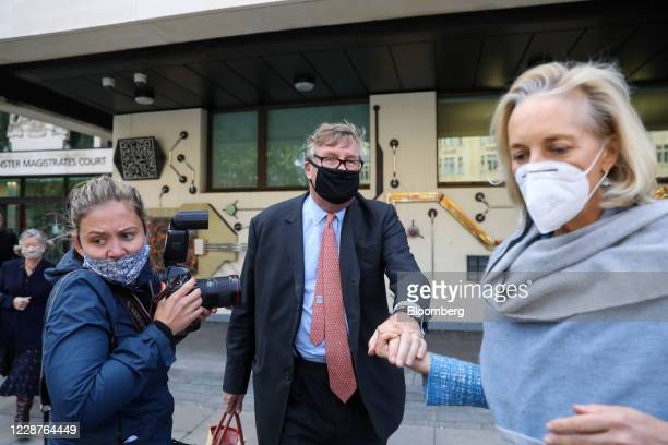 Crispin Odey, founding partner of Odey Asset Management LLP, center, departs Westminster Magistrates Court following his indecent assault trial in...