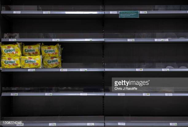 Crisps have been emptied from shelves inside a Waitrose supermarket as the outbreak of coronavirus intensifies on March 25 2020 in Chipping Sodbury...
