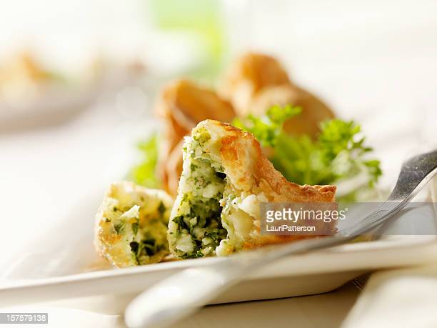 crispy appetizer pouches with spinach - fritter stock photos and pictures