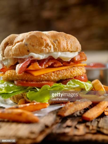 Crispy Chicken BLT Burger with Fries