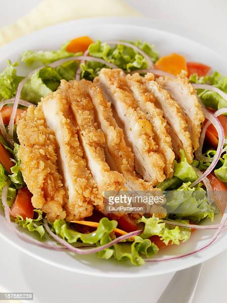 crispy chicken breast salad - fried chicken stock photos and pictures