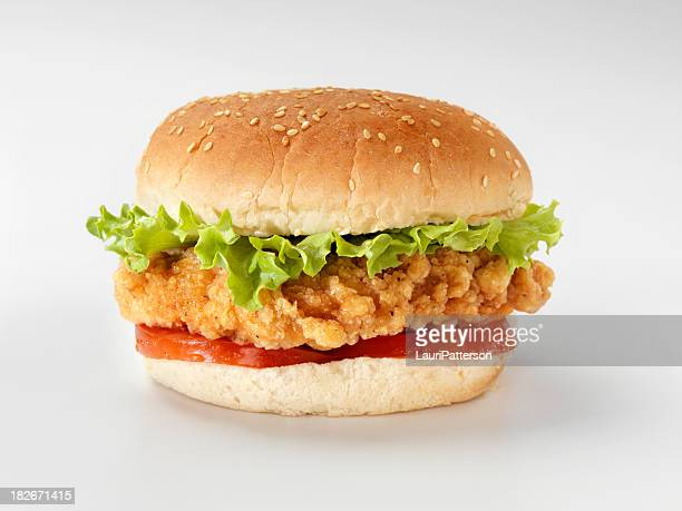 Crispy Chicken Burger with Lettuce and Tomato