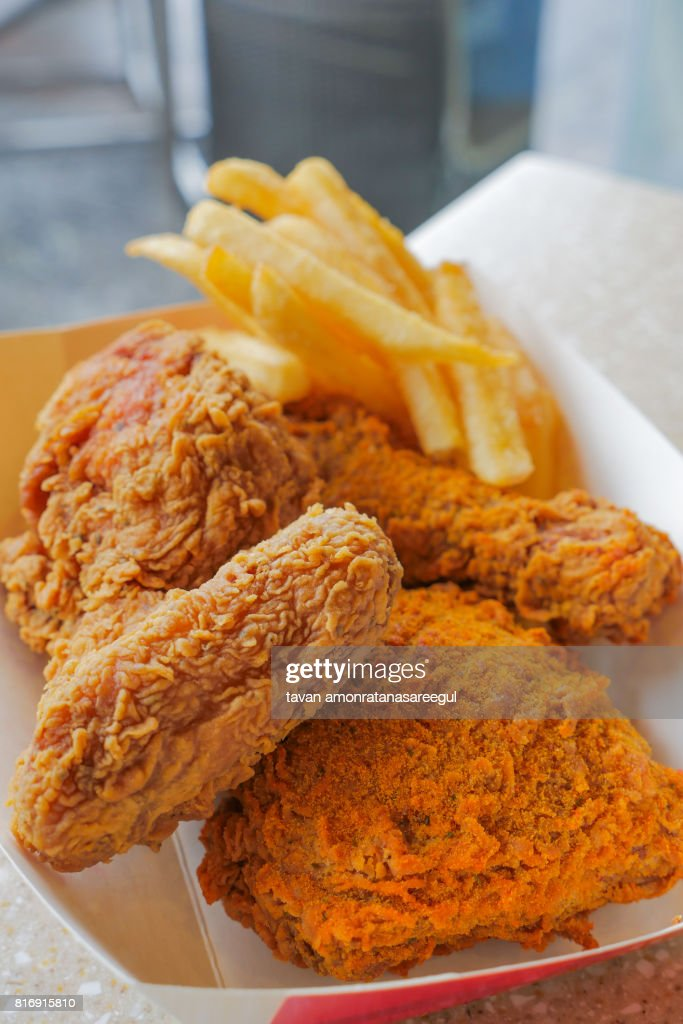 Crispy Deep Fried Chicken And French Fries Unhealthy Eating Stock