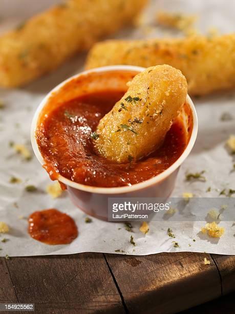 crispy mozzarella sticks - marinara stock photos and pictures