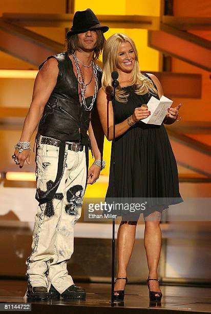 Criss Angel and Poppy Montgomery present the award for 'Single Record of the Year' onstage during the 43rd annual Academy Of Country Music Awards...