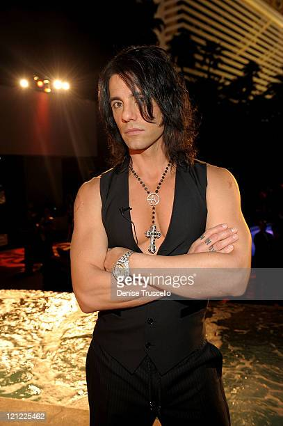 Criss Angel celebrates the launch of MagicPlacecom at Bare pool lounge at The Mirage Hotel and Casino on August 15 2011 in Las Vegas Nevada