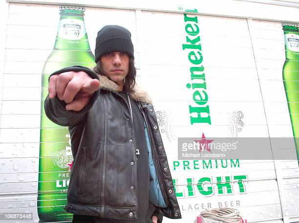 Criss Angel MindFreak during Master Mystifier Criss Angel Creates a Spectacular Demonstration to Unveil New Heineken Premium Light at Duffy Square in...