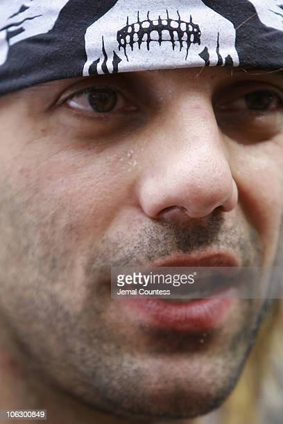 Criss Angel speaks to the media after emerging from a cementencased block in which he had spent 24 hours shackled and bound suspended from a crane 50...