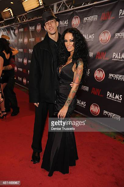 Criss Strokes and Angelina Valentine arrives at the 2010 AVN Awards at the Pearl at The Palms Casino Resort on January 9 2010 in Las Vegas Nevada