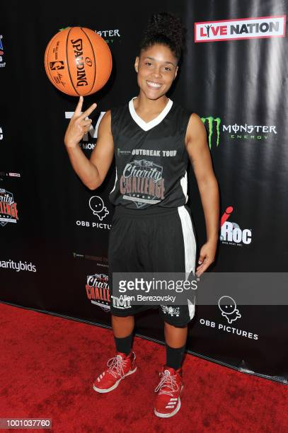 Crissa Jackson attends Monster Energy Outbreak $50K Charity Challenge celebrity basketball game at UCLA on July 17 2018 in Los Angeles California