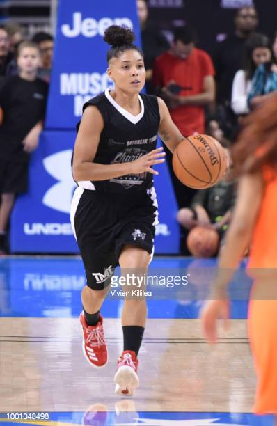 Crissa Jackson attends Monster Energy Outbreak Presents $50K Charity Challenge Celebrity Basketball Game at UCLA's Pauley Pavilion on July 17 2018 in...