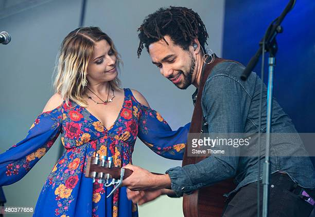 Crissie Rhode and Ben Earle of The Shires perform at Cornbury Festival at Great Tew Estate on July 11 2015 in Oxford United Kingdom