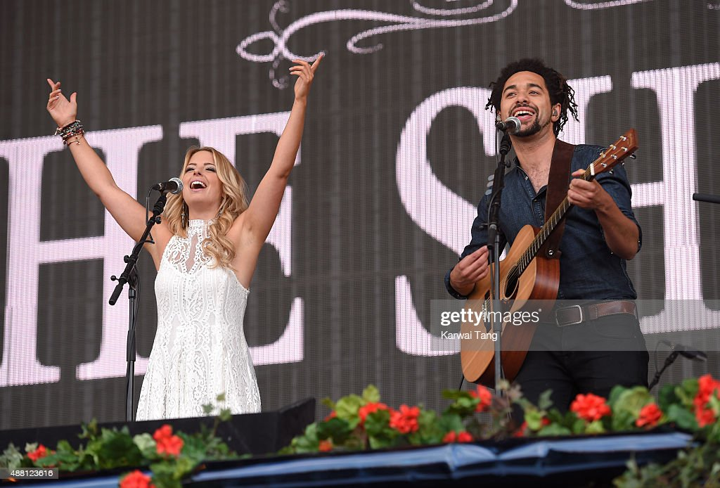 Crissie Rhodes and Ben Earle of The Shires perform at the BBC Radio 2 Live In Hyde Park Concert at Hyde Park on September 13, 2015 in London, England.