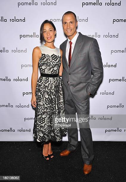 Crissy and Nigel Barker pose backstage at the pamella roland Spring 2014 fashion show during MercedesBenz Fashion Week on September 9 2013 in New...