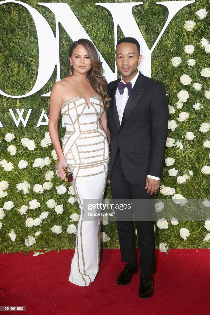 Crissy Teigen and John Legend attend the 71st Annual Tony Awards at Radio City Music Hall on June 11, 2017 in New York City.