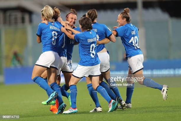 Cristaiana Girelli of Italy celebrates after scoring a goal during the 2019 FIFA Women's World Cup Qualifier match between Italy and Portugal at...