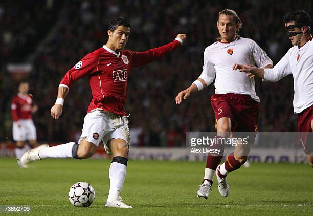 Cristaiano Ronaldo of Manchester United scores his team's fourth goal during the UEFA Champions League Quarter Final second leg match between...