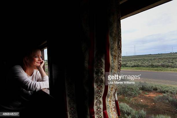 Cristal Bettany a passenger of The Ghan takes a day trip on the 'Pichi Richi' steam train through the Flinders Ranges on April 26 2014 in Port...