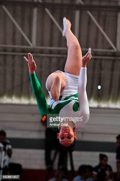 Cristal Stefani Saravia Alvarado of Bolivia competes in Balance beam as part of the Woman's Gymnastics All Around part of the XVII Bolivarian Games...