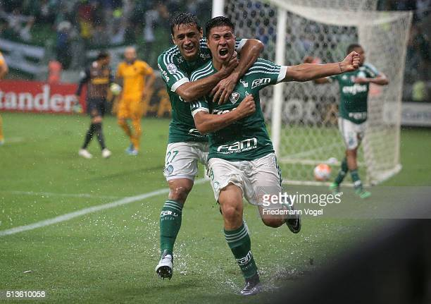 Cristaldo of Palmeiras celebrates scoring the first goal during a match between Palmeiras and Rosario as part of Group 2 of Copa Bridgestone...