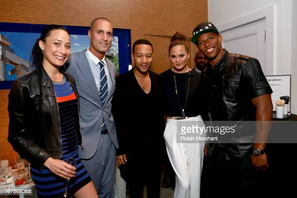 Cristen Barker Nigel Barker Chrissy Teigen John Legend and Victor Cruz attend as Delta Air Lines celebrate the opening night of T4X a pop up...