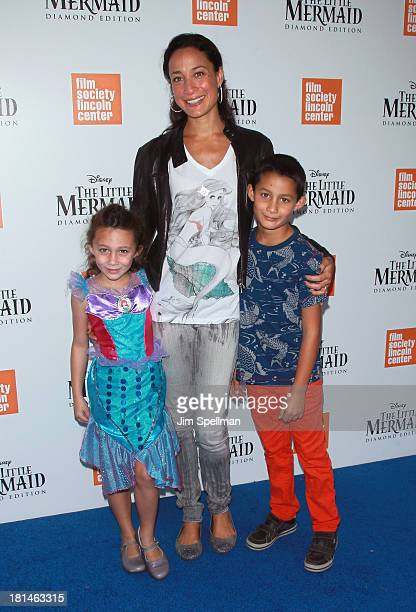 Cristen Chin Barker and daughter Jasmine Ines and son Jack attend The Little Mermaid screening at Walter Reade Theater on September 21 2013 in New...