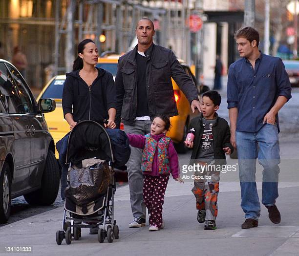 Cristen Chin Nigel Barker daughter Jasmine Ines and son Jack Nigel are seen in the west village on November 25 2011 in New York City