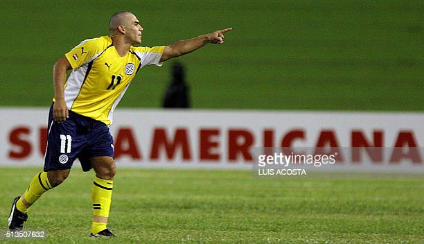 Cristhian Bogado del seleccionado de Paraguay celebra su gol ante Chile durante el partido por el Campeonato Sudamericano Sub20 que se disputa en...