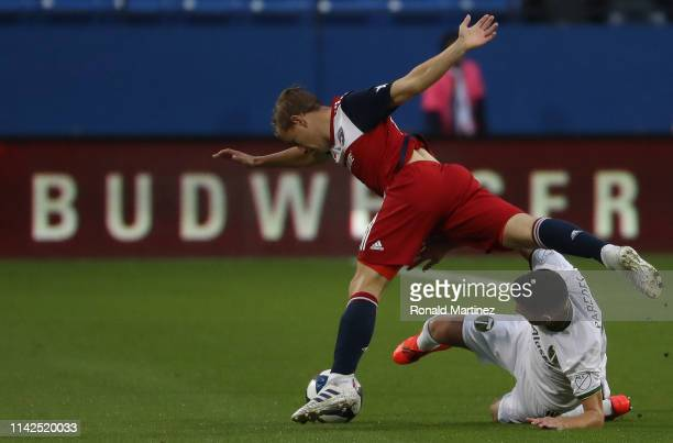 Cristhian Paredes of Portland Timbers controls the ball against Paxton Pomykal of FC Dallas in the first half at Toyota Stadium on April 13 2019 in...