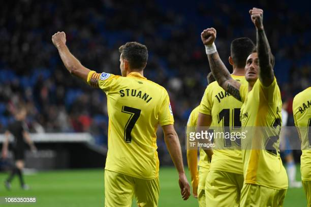 Cristhian Stuani of Girona celebrates after scoring his team`s second goal during the La Liga match between RCD Espanyol and Girona FC at RCDE...