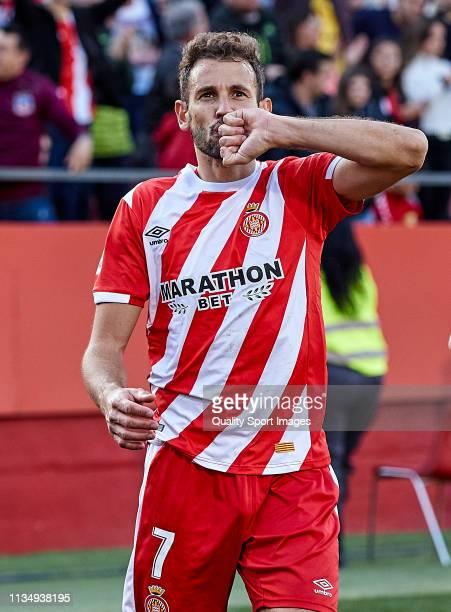 Cristhian Stuani of Girona FC celebrating his goal during the La Liga match between Girona FC and Valencia CF at Montilivi Stadium on March 10 2019...