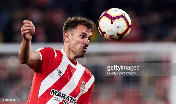 Cristhian Stuani of Girona FC controls the ball during the La Liga match between Girona FC and Real Sociedad at Montilivi Stadium on February 25 2019...