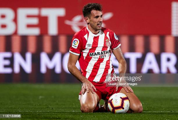Cristhian Stuani of Girona FC reacts after missing a chance of goal during the La Liga match between Girona FC and Real Sociedad at Montilivi Stadium...