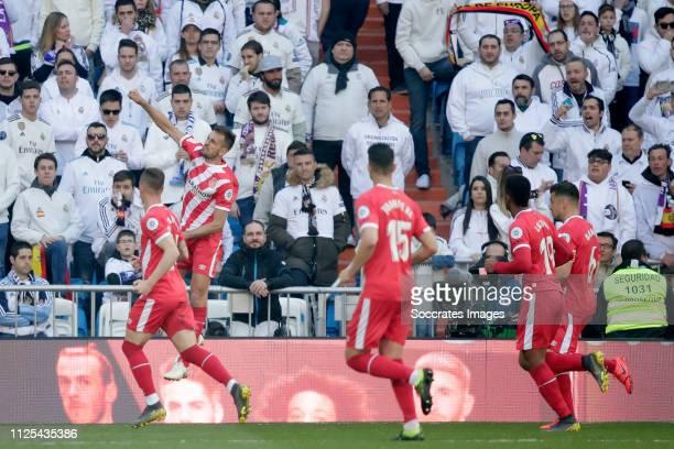 Cristhian Stuani of Girona Juanpe of Girona Anthony Lozano of Girona Alex Granell of Girona celebrate goal during the La Liga Santander match between...